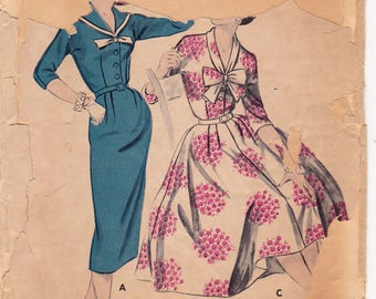 """1950s Butterick 8332 Sewing Pattern, Vintage Misses' Dress With Slim or Full Skirt, Rockabilly Dress, Size 14, Bust 34"""", Cut"""
