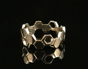 Solid Gold Honeycomb Ring