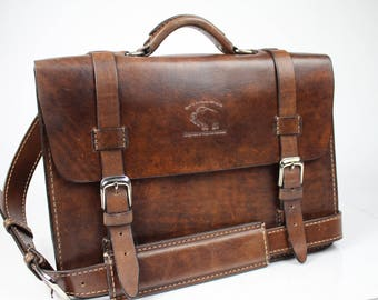 Leather Messenger Bag,  Leather Briefcase, Leather shoulder bag, Macbook Pro, 131