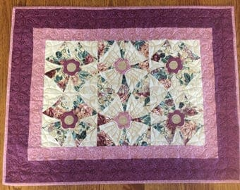 Pink and Maroon Table Runner with Floral Applique made with Vintage Squares