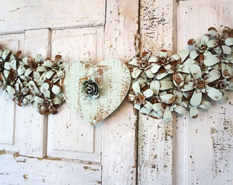 Rusty metal angel wings w/ heart wall hanging shabby beach cottage painted sea foam flower covered wings home decor anita spero design