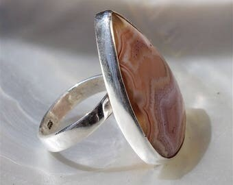 Laminated and silver agate stone ring Sterling