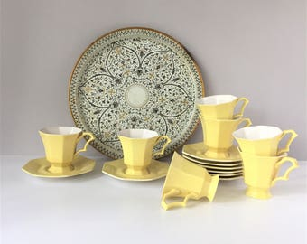 1776 Independence Ironstone, Yellow Daffodil Cups and Saucers, Vintage Set of 7, Castleton China Japan, Mid Century Tableware
