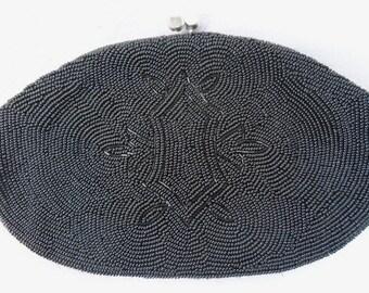 Unique Beautiful Black Beaded Purse,  Antique Beaded Purse .  Beaded Clutch,The 20s Beaded Black Purse ,Antique Hand Bag ,( 1930)
