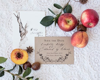 Sepia Trees Save the date Wedding Invitation & Packages   Custom Calligraphy Wedding   rustic tree Wedding   The Orchard Collection