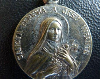 Saint Teresa of Lisieux  Antique French   Religious Medal  Signed  Old Pendant Charm Jewelry