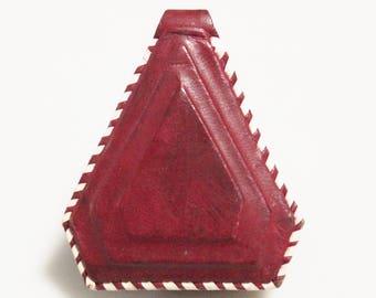 Dark Red African Triangle Leather Pendant, Unique Jewelry Supplies, Mali Tuareg Pendant (AL271)