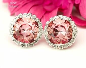 Blush Pink Earrings Vintage Pink Earrings Pink Stud Earrings Swarovski Crystal Antique Pink Sparkly Bridesmaid Jewelry Bridal Earrings BP50S
