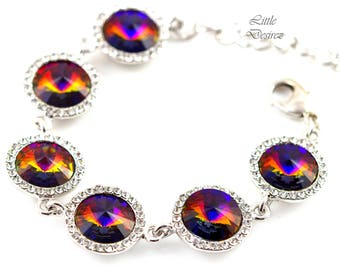 Swarovski Crystal Bracelet Rivoli Volcano Crystal Cobalt Amber Purple Orange Statement Bridal Bracelet Bridesmaid Gift Fall Wedding VO34BR