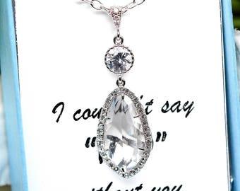 Clear Crystal Necklace Rhinestone Necklace Bridesmaid Gift Bridesmaid Bridal Jewelry Wedding Jewelry Teardrop Crystal Pendant Sparkly CC40N