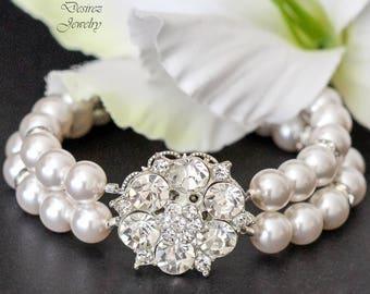 Rhinestone and Pearl Bracelet Wedding Bracelet Bridal Bracelet Multistrand Pearl Cuff Bracelet Vintage Style Jewelry Art Deco Jewelry AMELIA