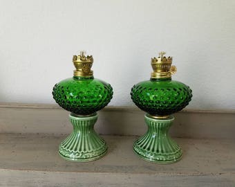 2 Vintage Oil Lamps Green Glass Hobnail Oil Lamps with Ceramic Base Japan