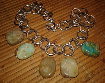 Sterling Silver Turquoise Necklace Vintage Handmade