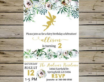 FAIRY BIRTHDAY INVITATION - Gold Fairy and Watercolor Floral Arrangements Birthday Invitation - Any Age - Customized Digital File