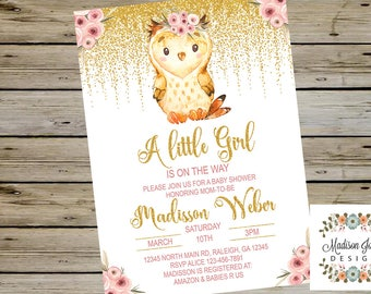 OWL BABY SHOWER, Cute Owl Baby Shower, Girl Baby Shower, Cute Owl Baby Shower, Watercolor Owl, Baby Owl, Digital Printable