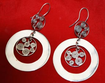 Sterling Dangle circle  Earrings - Pierced multi  circle rings  - Calder Style -  Modernistic  Earring