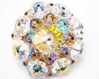 Rivoli Rhinestone Brooch -  floral glass  Crystal - Flower  Bead cluster - Atomic - Mid Century -  pin