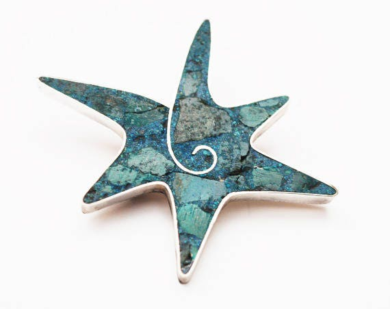 Sterling Turquoise star fish Brooch - Signed  Beto Taxco  - Blue Gemstone inlay - Mexico Pin