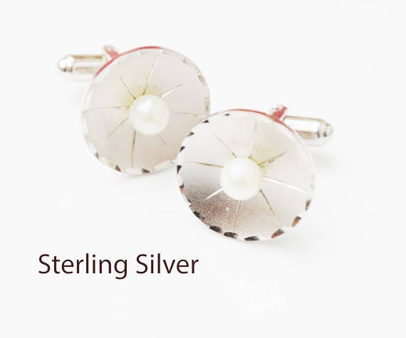 Sterling Silver Pearl  Cuff links - round white salt water pearl - wedding groom - cufflinks