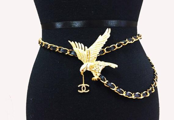 Chanel Eagle Belt  - Black leather - Rhinestone eagle - gold chain belt necklace -