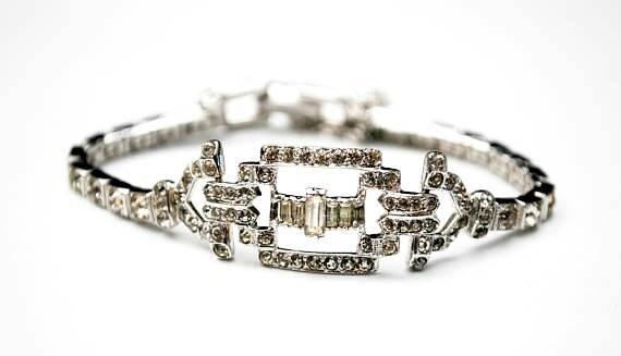 Otis Sterling  Rhinestone Bracelet  - Art DEco - Clear crystal  stones -sterling silver -  channel set - Signed - Tennis Bracelet