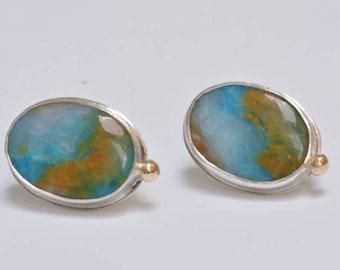 Peru Opal Earrings in Silver, Blue Opal Earrings on Post, Landscape Opal Earrings, Blue Statement Earrings, Large Stone Earrings on Post