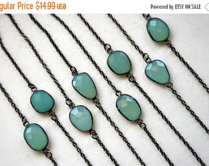 GIFT SALE Petite Aqua Chalcedony Gunmetal Necklace // Minimal Blue Chalcedony Layering Necklace