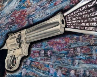 "Gun, 2nd Amendment, 18""x24"" Metal Art Print, Political Art, Fine Art Print by Artist Jamie Rice, Home Decor with a story."