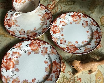 Japan Handpainted Dessert Plates-Free Cup and Plate-Red/Gold Floral Design