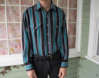 Vintage 80s 90s Striped Snap Shirt