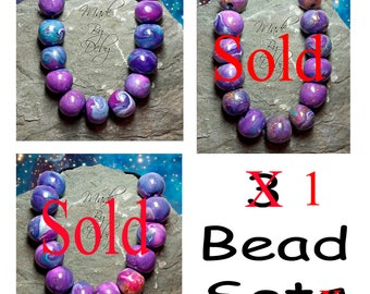 Round Polymer Clay Beads, Turquoise, Pearl, Pewter, Purple, Fuchsia, Hamdmade, 1 Set Left