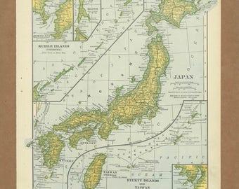 Vintage Map Of Japan Etsy - Japan map large size