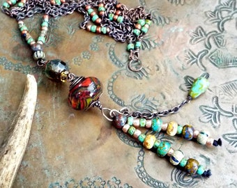 Rustic Boho Artisan Lampwork and Czech Glass and Long Copper Necklace