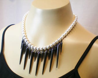Pearls and spikes fringed necklace, Sentimental/Reminiscence memory jewelry,Recycled/Upcycled jewelry,Free USA shipping,Made in USA/Michigan
