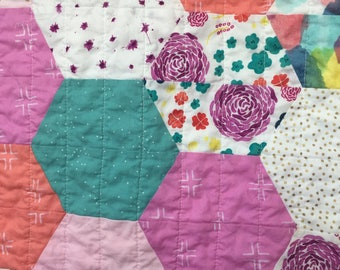 Spring Summer Baby Toddler Hexagon Quilt Blanket Girl Modern Patchwork Bright Colorful  Floral Pink Green Blue Purple