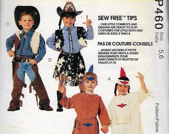 """Vintage 1993 McCall's 460 Cowboy Cow Girl Indian & Squaw Costumes Size 5,6 Chest/Breast 24"""",25"""""""