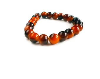 Halloween Beaded Bracelet - Glass Beads - Orange Jewelry - Halloween - Women's Bracelet - Bead Bracelet - Stretch Bracelet - Orange Jewelry