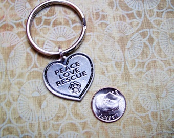 Peace, Love, Rescue, Keyring Great Gift for Volunteers, Fosters, Adopters, and Workers