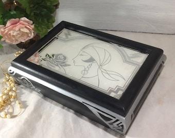 Art Deco Mirror Jewelry Box, Black Silver Geometric Art Nouveau Jewelry Case, 1920's Flappers Roses Jewelry Storage Box, Women's Jewelry Box