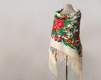 Reserved  - Russian shawl, tulips and roses, finewool throw, floral throw, Pavlovo Posad shawl, soviet vintage shawl floral chair throw wool