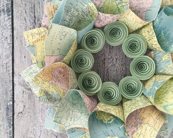 """Map Wreath, World Atlas Wreath with Paper Flowers, Paper Wreath, 15"""""""