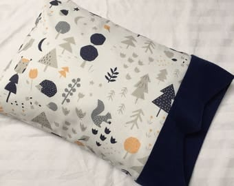 Organic Baby Pillow, Woodland, Tummy Time Pillow, Play Mat Pillow, Activity Mat, Nursery Pillow, Travel, Pillowcase, Deer, Owl, Bird, Fox