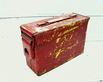 Vintage Red and Yellow Chippy Utility Can Box  - Craft Hobby Storage - Industrial - Ammo