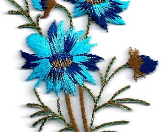 Flowers - Wild Flowers - Spring - Blues - Embroidered Iron Applique Patch