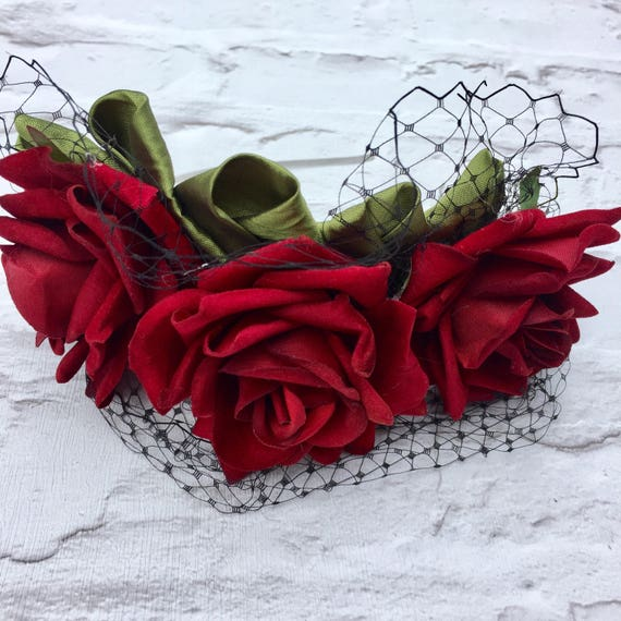 Blood Red Roses Fascinator Rockabilly Pinup Inspired