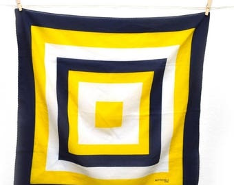 ON SALE 80s Scarf Square Botticelli Roma Blue Yellow White Silk