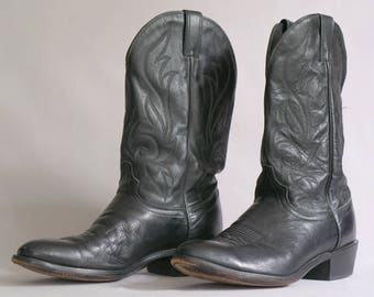 Vintage Black Leather Cowboy Boots by Laredo / Size 11