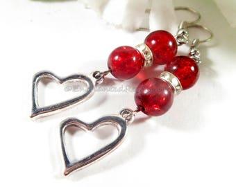 Ruby Red Earrings, Heart Earrings, Heart Charm Earrings, Boho Chic Fashion Earrings, Womens Jewelry, Red Jewelry, Trending Womans Jewelry