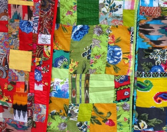 Table runner or Chair in green cotton patchwork throw