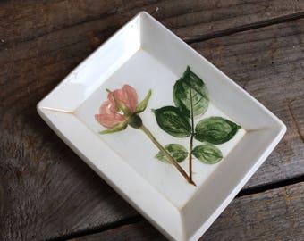 Rose Bowl pink rose spoon test, Rose soap dish, rose ring dish, Rose ring Dish, handmade rose pottery dish
